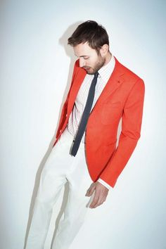 orange blazer, white pants, shirt and skinny tie - Pop of color - menswear