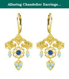 Alluring Chandelier Earrings by Lucia Costin with Cute Elements, Blue, Light Blue Swarovski Crystals, Lovely Charms and Flower Ornaments; 24K Gold Plated over .925 Sterling Silver; Handmade in USA. A frame bursts with abundant flowers in these splendid chandelier earrings designed by Lucia Costin. The designs of Lucia Costin are very unique and luxurious made with high quality materials and stones. Lucia Costin was born and raised in Eastern Europe, that is why all her products have a...
