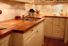 white kitchens with butcher block counters - Google Search