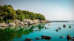 Let's get lost in serene Damouchari village on Pelion. Book Your Holidays in Greece. Places In Greece, Greece Holiday, Secluded Beach, Paradise Found, Seaside Towns, Thessaloniki, Greece Travel, Greek Islands, Evergreen
