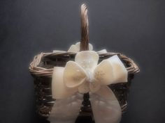 Flower Girl Basket Wedding Ivory 70 flower colors & 44 glass bead colors by ArtisanFeltStudio on Etsy, $30.00
