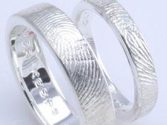 Sets of Custom Handmade Fingerprint Wedding Rings by brent