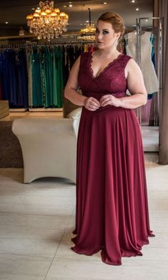 Dark Red Plus Size Mother of the Bride Dress Lace Chiffon Formal Occassion Dress Bridesmaid Dresses, Prom Dresses, Formal Dresses, Bride Dresses, Curvy Fashion, Plus Size Fashion, Plus Size Formal, Lace Evening Dresses, Dress Lace