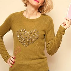 Create a fun and fashionable Valentine Heart Sweater DIY with this tutorial.