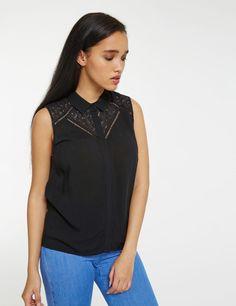 Chemise avec dentelle noire femme • Jennyfer