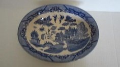 VINTAGE BLUE WILLOW PATTERN MADE IN JAPAN SERVING DISH