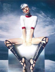 Andreea Diaconu by Sølve Sundsbø … George Cortina (style) … Kamo (hair) … Lisa Butler (make-up) … Andrea Stanley (set) … Larissa Gunn (cast) … The Extreme Sport, Vogue Japan, March 2013…