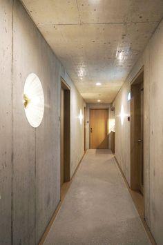 Hotel Nomad in Basel Hallway Sconces, Hallway Light Fixtures, Hotel Corridor, Hotel Door, Basel, Corridor Lighting, Building Signs, Hotel Lounge, Apartment Design