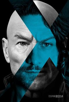 """A teaser poster for """"X-Men: Days of Future Past,"""" showing Patrick Stewart and James McAvoy as iterations of the character Charles Xavier/Professor X. Design by BLT Communications, LLC, Hollywood. Charles Xavier, Francis Xavier, James Mcavoy, Michael Fassbender, Days Of Future Past, Ian Mckellen, Hugh Jackman, Man Movies, Good Movies"""