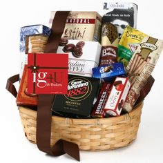 Coffee Gift Baskets - Taste of Italy Gift Basket by ig4U. Holiday gift basket filled with over 35 ounces of gourmet Italian-themed sweet and savory foods, Includes olives, crostini, grissini, coffee, chocolates and more