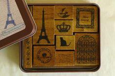 Margaret Stamp Set - Paris BIrd Crown Cat Frame - Floral Lace Stamps - Craft Rubber Stamps
