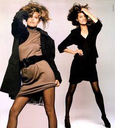 Yasmin Le Bon and Renée Simonsen for Vogue Italy by David Bailey, July 1987