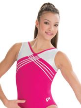 Be the star of your practice in this gymnastics tank leotard in raspberry nylon/spandex and white sparkle hologram. Features white sparkle hologram zig zag design trim, secured v neckline, and matching scrunchie. Gymnastics Leos, Gymnastics Outfits, Gymnastics Leotards, Dance Outfits, Cool Outfits, Athletic Tank Tops, Eye, Bratayley, Nice Clothes