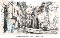 Sketch of tourist at the backside street of Ancient Roman building Pantheon temple, Rome, Italy. Hand drawn vector illustration on watercolor splash background, January 03, 2018
