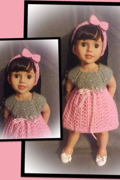 Australian Girl Doll - Annabelle wearing her new dress and headband knitted from a Jacqueline Gibb pattern.