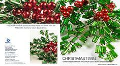 Ramitas navideñas con canutillos verdes y perlas rojas (Classical Christmas decorations)