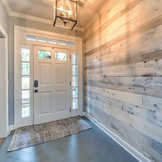 Loving how our prefinished white barn wood enhances this entryway! #TheRusticLook