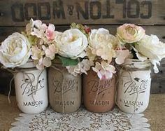 Mason Jars Rustic Distressed Painted by BrumbleBerryBoutique