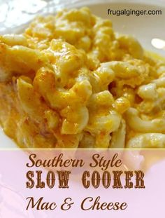 Southern Style Slow Cooker Mac & Cheese - crockpot mac and cheese recipe - Slow Cooker Mac N Cheese Recipe, Mac Cheese Recipes, Crock Pot Slow Cooker, Potluck Slow Cooker Recipes, Crockpot Side Dishes, Crackpot Mac And Cheese, Slow Cooker Pasta, Recipes Dinner, Crockpot Recipes For Parties
