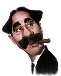 Caricature of Groucho Marx with cigar… Groucho Marx, Funny Caricatures, Celebrity Caricatures, Satire, Create A Comic, Caricature Drawing, Funny Art, A Comics, Funny Cartoons