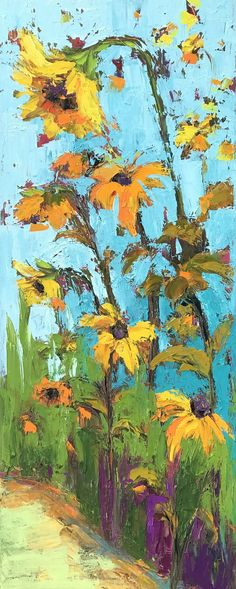 Joyful Sunflowers oil painting These sunflowers share their joy as they dance to the rhythm of love. The cheerful scene is accentuated by the bold palette knife and colorful hues. Zoom in to see the texture! #art #wallart #sunflowers #oilpainting #joyfulart #artwork #landscapepainting #floral #homedecor #interiordesign #awaparaart #colorfulart #colorfulwildflowers