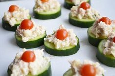 to ] Great to own a Ray-Ban sunglasses as summer gift.Cucumber-Cheese Bites Set out the cucumbers and toppers and let your guests assemble their own appetizers. Appetizer Recipes, Snack Recipes, Cooking Recipes, Cheese Appetizers, Healthy Snacks, Healthy Recipes, Cheese Bites, Snacks Für Party, Appetisers