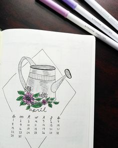 Bullet journal monthly cover page,  April cover page, watering can drawing, flowers drawing. | @jastinnejournal