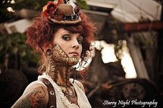 Steampunk Makeup Guide: Special FX Gold Robot - For costume tutorials, clothing guide, fashion inspiration photo gallery, calendar of Steampunk events, & more, visit SteampunkFashionGuide.com
