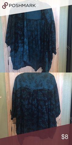 Blue/green short kimono Dark blue/green short kimono. Ecote Sweaters Cardigans