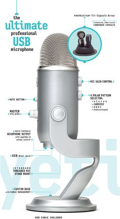 Blue Microphones | Yeti - The Ultimate Professional USB Microphone  Need something robust for doing voice-overs, webinars, podcasts,etc.   The Blue Yeti is impressive!