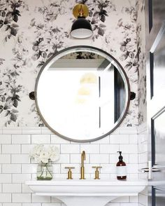 Powder room is a part from the bathroom and usually it is a half bathroom with a suitable vanity and bathroom sink with mirror. You can decorate your powder room in every single style, but it need to fit with… Continue Reading → Powder Room Small, House Design, Bathroom Wallpaper, Round Mirror Bathroom, Black Decor, Bathrooms Remodel, Bathroom Design, Bathroom Decor, Beautiful Bathrooms
