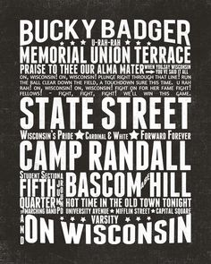 Wisconsin Badger Subway Wall Art printable in color of your choice