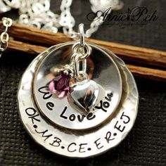 My Precious Kids Layered Domed with Heart -Custom Hand Stamped Necklace - with Swarovski Crystal Birthstone