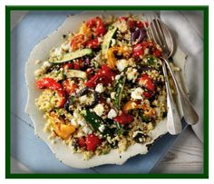 Quinoa & feta salad with roasted vegetables   http://www.ibssanoplus.com/low_fodmap_recipe_quinoa_feta_salad.html