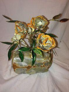 VTG Metal Copper Roses in stone alabaster Flower Mineral Home Floral  Decor