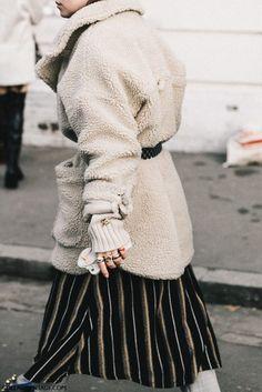 Coat: tumblr fashion week 2017 streetstyle teddy bear white fluffy fuzzy belt skirt stripes striped