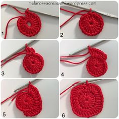 Round in the magic ring start 3 chains and 19 dc, close the round with a slst in the third initial chain (picture Crochet Potholder Patterns, Easy Crochet Stitches, Crochet Snowflake Pattern, Crochet Square Patterns, Christmas Crochet Patterns, Crochet Dishcloths, Crochet Snowflakes, Potholders, Crochet Symbols
