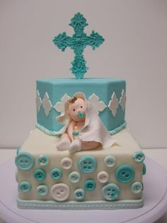 First Communion - Baby boy Baptism cake. Christening Cake Boy, Baby Boy Baptism, Baptism Cakes, Baby Boy Cakes, Cakes For Boys, Baby Shower Cakes, Choco Moist Cake, Religious Cakes, Confirmation Cakes