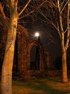 Full Moonlight over Kilwinning Abbey ~ North Ayrshire, Scotland
