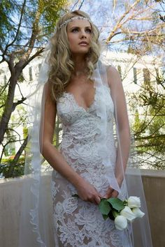 "love the glamour hippie bride look! fab ""lace up"" gown"
