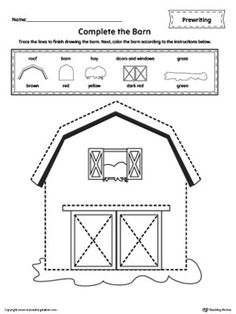 **FREE**Barn Line Tracing Prewriting Worksheet. Trace the lines to finish drawing the barn. Next, color the barn according to the instructions in this  printable worksheet.