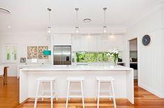 Kitchen white timber floors pendant lighting