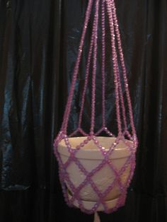 Beaded Plant Hanger Purple by syltas on Etsy, $11.00