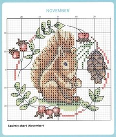 Squirrel month november cross stitch pattern with pine cone Fall Cross Stitch, Mini Cross Stitch, Cross Stitch Cards, Cross Stitch Samplers, Cross Stitch Animals, Counted Cross Stitch Patterns, Cross Stitch Designs, Cross Stitching, Cross Stitch Embroidery