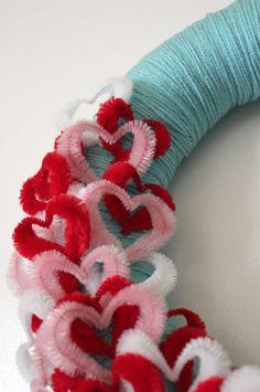 Hearts Wreath, Valentine Day Wreath, Aqua Yarn Wreath, Love Wreath, 14 inch Size - SHIPS JANUARY 2. $43.00, via Etsy.