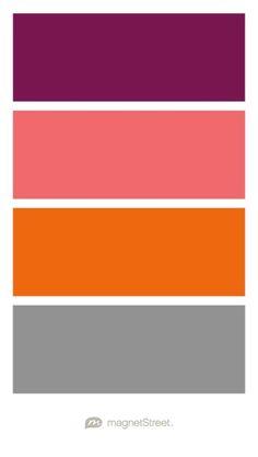 Sangria, Custom Orange, Orange, and Classic Gray Wedding Color Palette - custom color palette created at MagnetStreet.com