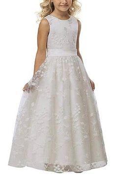 mixinni® Lang Spitze Blumenmädchenkleid Kommunionkleid Hochzeit Fest Kinderkleid Mädchen Prinzessin Kleid Weiß 9