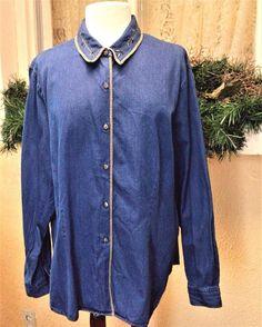 Talbots Embellished Velvet Trim Shirt Weight Denim Shirt XL Blue/Multi Casual #Talbots #ShirtWeightDenimShirt #Casual