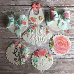 Cupcakes  Toppers  Flowers  Baby Shower Hand Painted