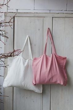 Large Linen Bag Pink Tote Bag Hand Made Reusable by SondeflorShop Pink Tote Bags, Diy Tote Bag, Reusable Grocery Bags, Linen Bag, Simple Bags, Fabric Bags, Cotton Bag, Bag Sale, Bag Making